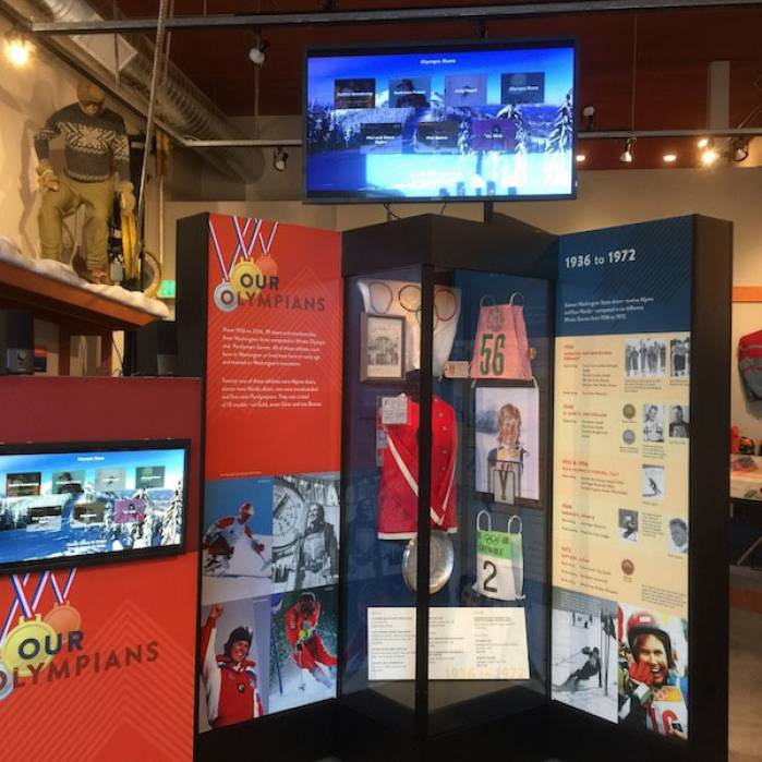 Museum's Olympian exhibit honoring Washington's 39 Olympians (15 of whom were medal winners) who participated in 16 Olympic Games since 1936.