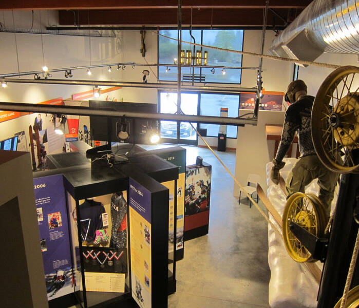 View from museum's mezzanine showing a working rope tow and the Olympian exhibit.
